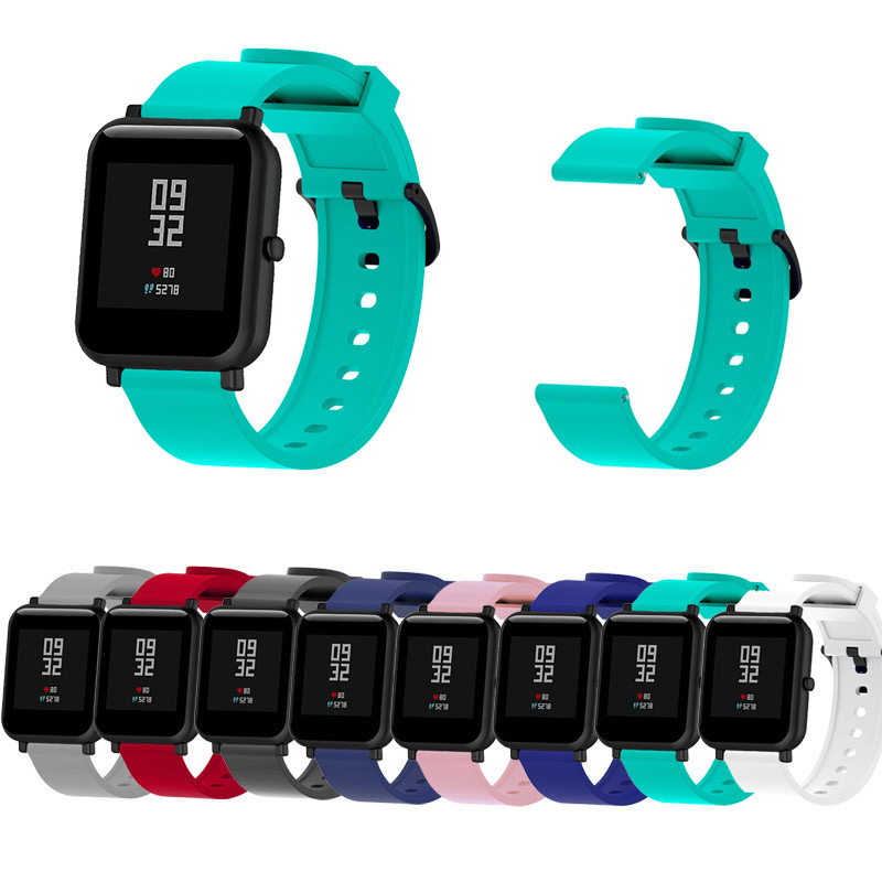20mm Silicone Strap For Xiaomi Huami Amazfit Bip Smartband Suitable For Smart Watch Replacement Bracelet Accessories