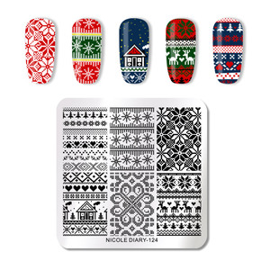 Image 5 - NICOLE DIARY Christmas Series Nail Stamping Template Holloween Series Image Stamp Plate Flower Marble Geometric DIY Stencil Tool
