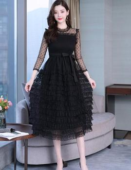 2019 Autumn New Arrival  Sexy High Quality Elegant Lace Gauze Layer Cake Style Long Sleeve Woman Dress Black