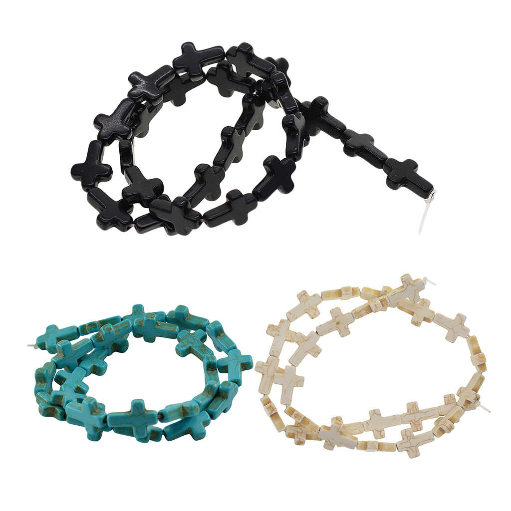 1 Strand Howlite Turquoise Loose Cross Spacer Beads Bracelets Necklace DIY
