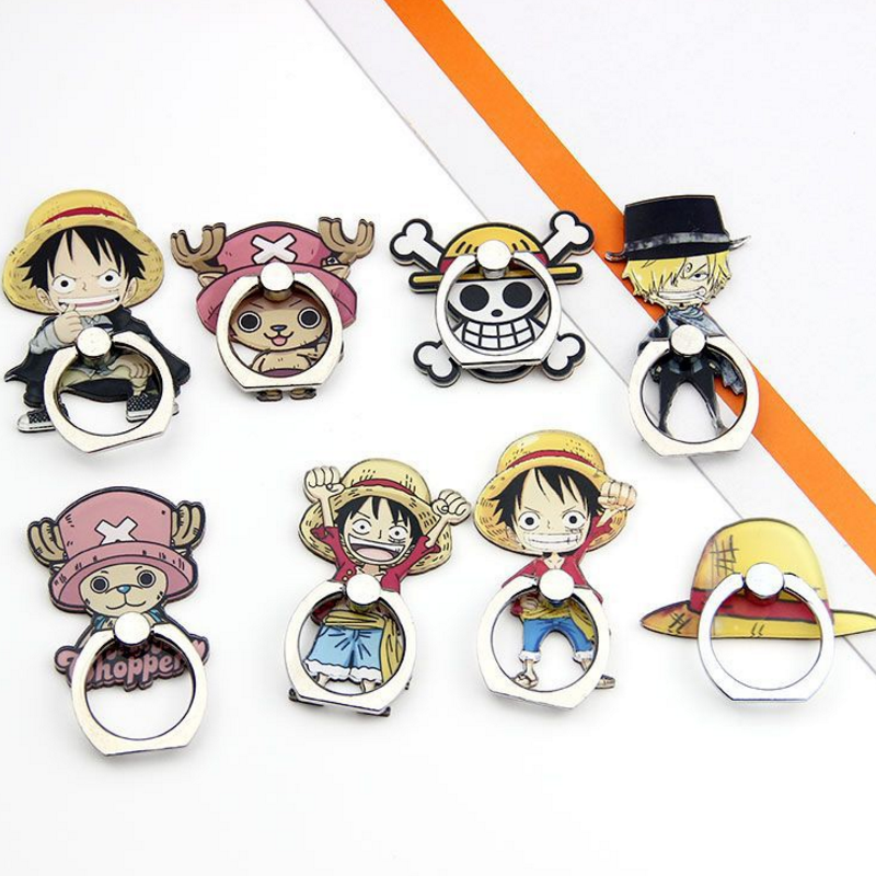 1 pcs new Japanese Anime Action Figures Toy <font><b>One</b></font> <font><b>Piece</b></font> <font><b>Luffy</b></font> Zoro Figure 360 Degree Metal Finger Ring Holder Case for phone image
