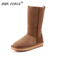 MBR FORCE Classic Knee High Sheepskin Suede Leather Wool Fur Shearling Lined Winter Boots for Women Snow Boots Shoes Size 34 44