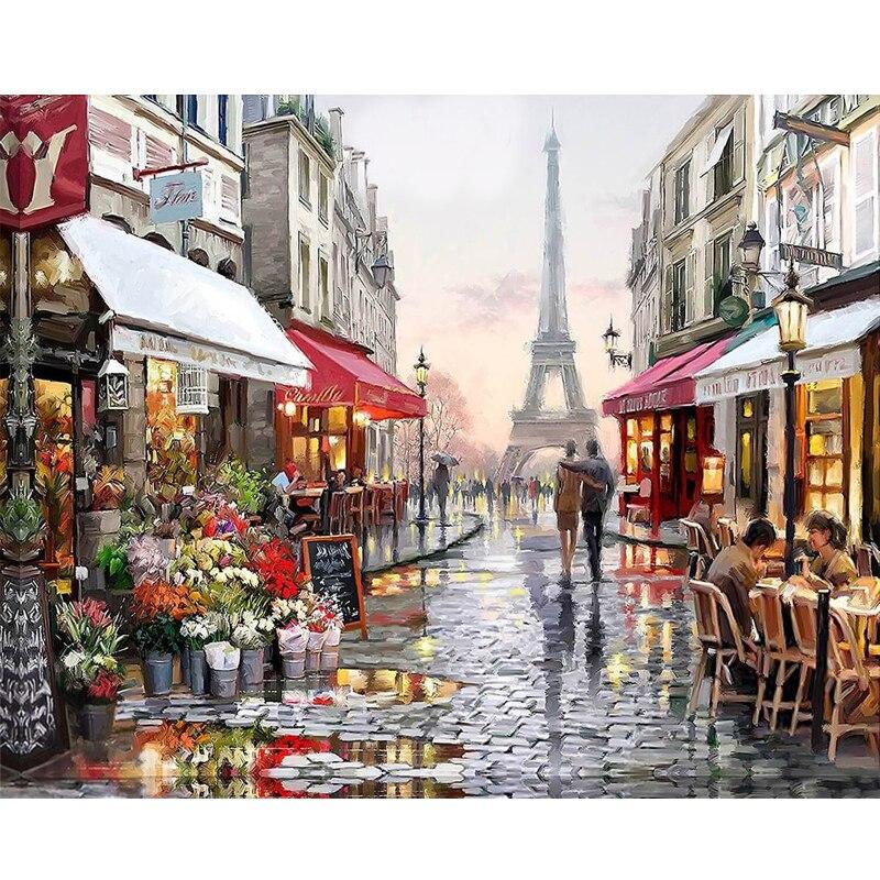 Рисование на холсте по номерам, ручная роспись по Парижской улице, рисование на холсте по номерам, домашнее настенное художественное изобра...