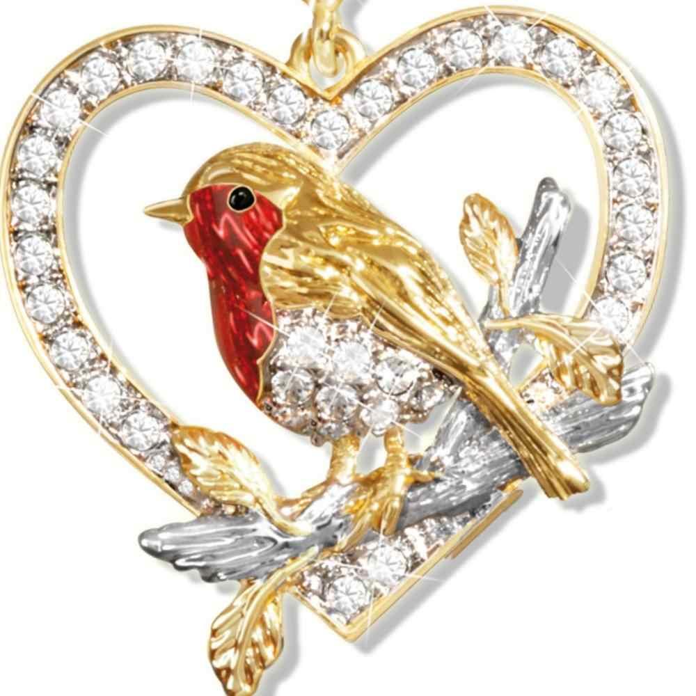 Conjunto de joyas, collar con colgante de pájaro Robin Magpie para mujer, conjunto de pendientes, oro amarillo, fiesta de cóctel, regalo de aniversario para enamorados