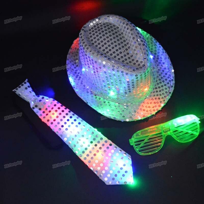 Child Woman Men Flashing Sequins Fedora Jazz Cap Hip Hop Hat Light Eye Glasses Tie Easter Wedding Valentines Birthday Party Gift