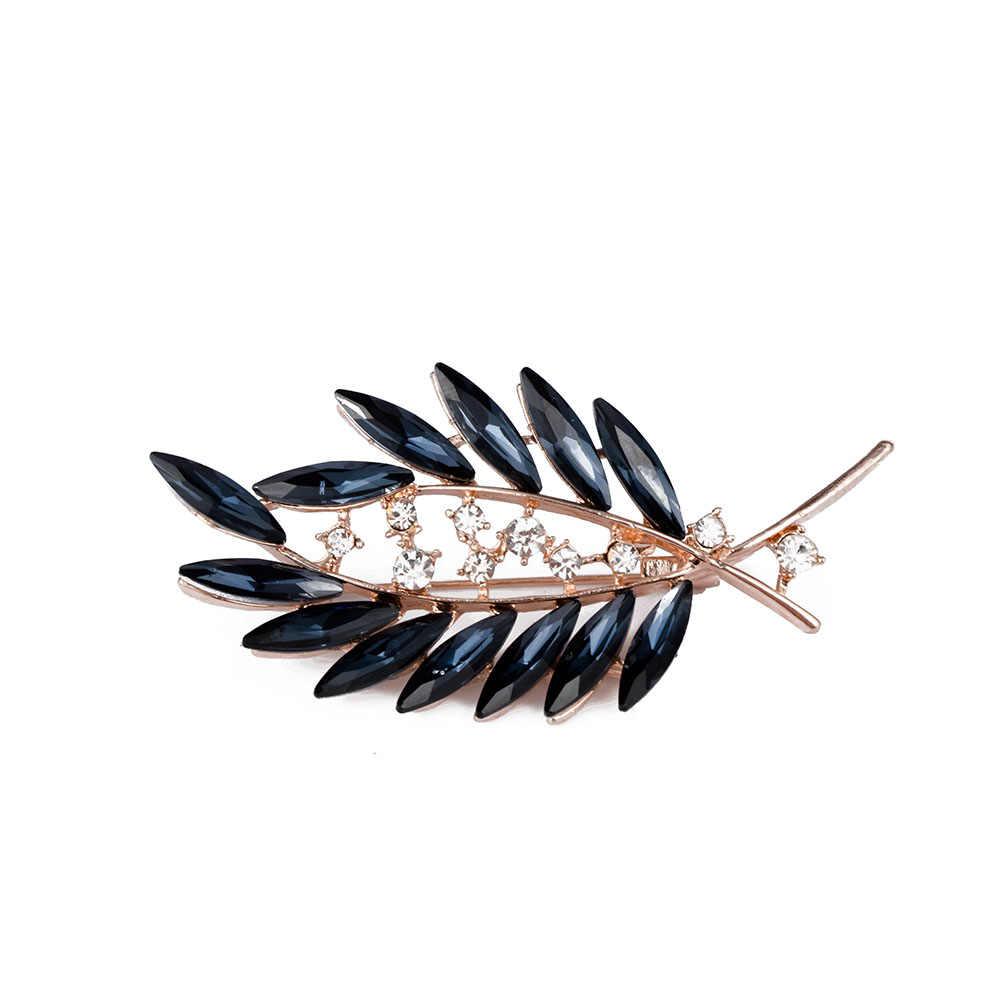 Vintage Biru Daun Bros Pin Fashion Paduan Berlian Imitasi Buatan Crystal Perhiasan untuk Wanita Pakaian Pria Kemeja Suit Aksesoris