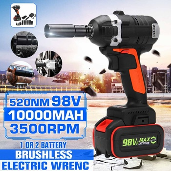 98V 520Nm 3500rpm 2 in 1 Brushless Electric Socket Impact Wrench Cordless Wrench 10000mah Lithium-lon Battery Power Tools Kit