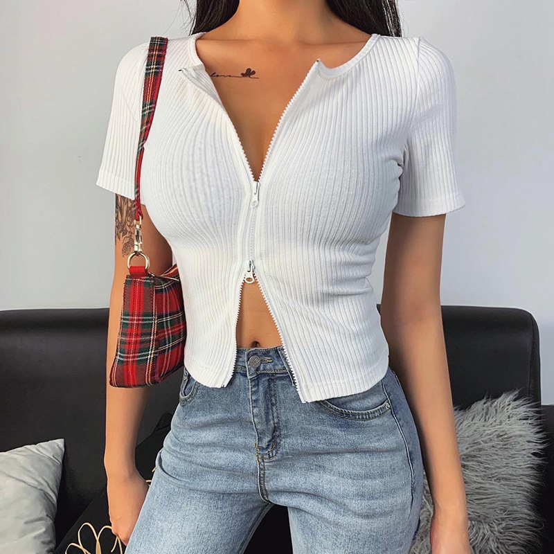 Meihuida Women Sexy Zipper Fitted Cardigan Ribbed Knitted Short Sweater 2020 Short Sleeve Tops Stretch Skinny Crop Tops