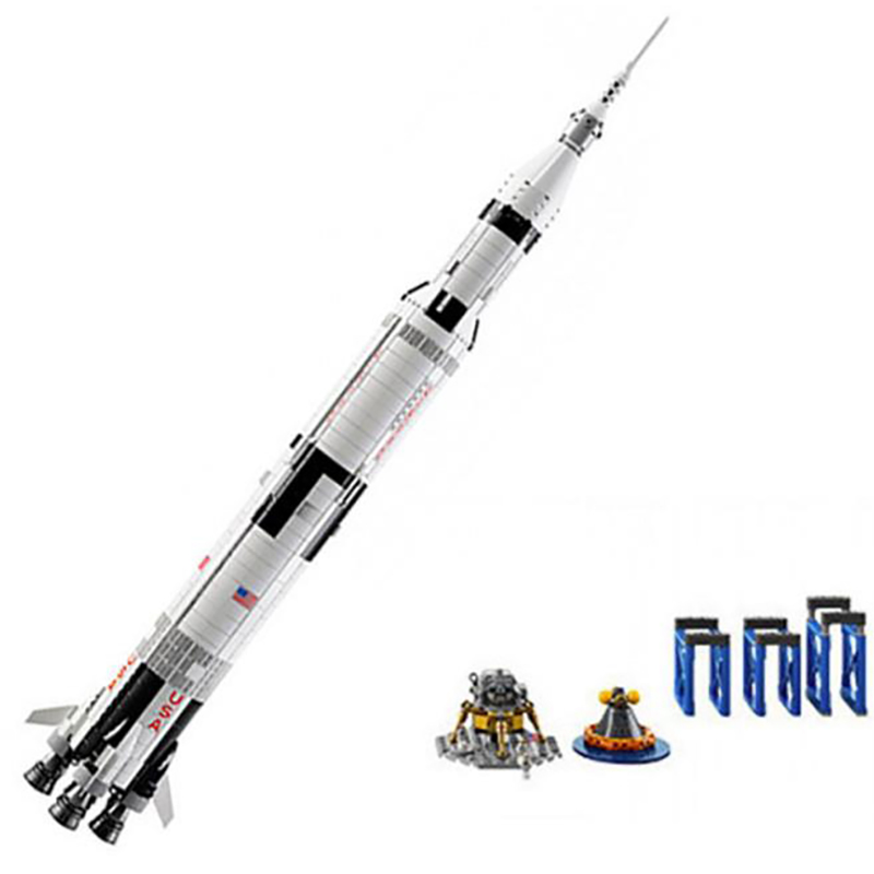 New Ideas series The Apollo Saturn V Model Building Blocks set Compatible 21309 37003 classic education Toys for children