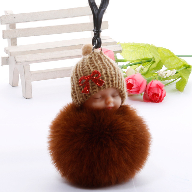Cute Sleeping Baby Plush Doll Kids Baby Toy Xmas Gift Fur Ball Key Chain Pendant Girl Bag Ornaments Easter Decor Birthday Favors 2