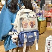 EnoPella Fashion Women Waterproof Backpack Black Transparen Nylon Kawaii For Teenager Large Capacity Cute Travel Bag Mochila
