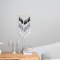 Macrame tapeçaria tecida tapeçaria borlas parede arte boho decoração para casa sala de estar quarto berçário  preto  cinza e branco  2
