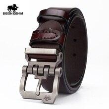 BISON DENIM genuine leather belt for men gift designer belts mens high quality Cowskin Personality buckle,Vintage jeans N71223