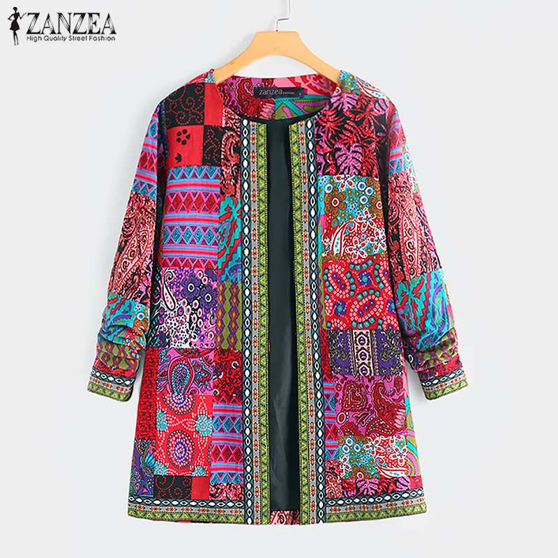 ZANZEA Ethnic Printed Cardigan Thin Coats Long Sleeve Blusas Women's Jackets 2020 Casual O Neck Open Stich Overcoats Plus Size(China)