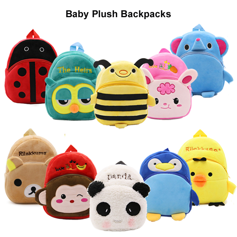 Cartoon Animals Plush Backpack Baby Toy School Bag Children's Gifts Kindergarten Student Bags Lovely