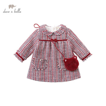DBM15467 dave bella winter baby girl's fashion bow plaid dress with a small bag party dress kids infant lolita 2pcs clothes image