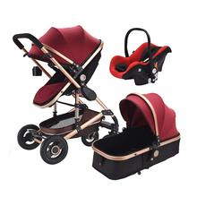 Baby Stroller With Car Seat Baby 3 in 1 Bassinet High Landscope Folding Carriage For Child 0-3 Years Pram For Newborns