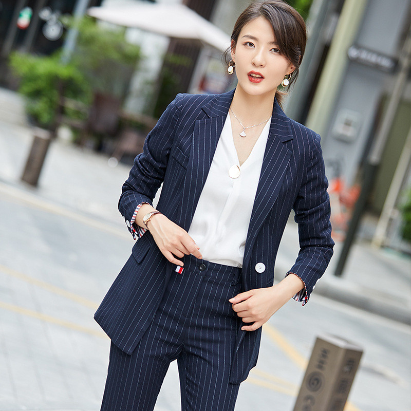New Striped Suit Ladies Double Row Business Casual Professional Wear Women's Fashion Temperament Slim Formal Suit