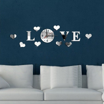 Diy 3d Home Modern Decoration Crystal Mirror Room ''love''wall Clock Clocks Wall Home Decor Living Room Kitchen Kids Room Clocks 1
