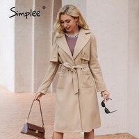 Simplee elegante scollo a v con lacci manica lunga bottone trench cappotti ufficio tasca con intaglio fusciacca cappotto lungo blazer femminile colletto outwear