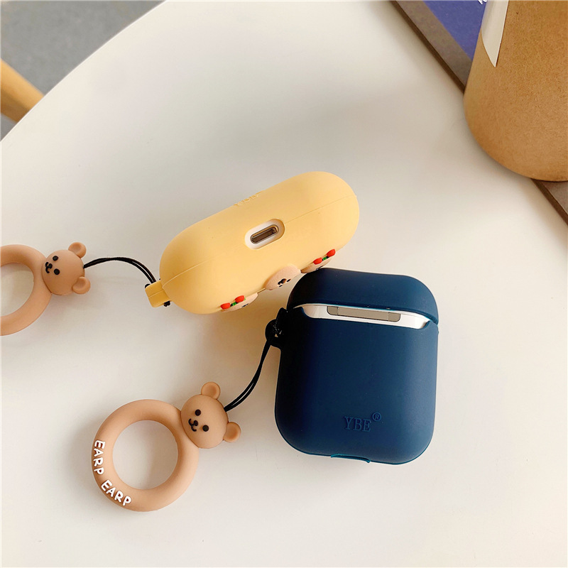 Cherry Bear Luxury Protective Case for AirPods 1 2 3 Cute Cover Bluetooth Earphone Case for Airpods Pro Silicone with Ring Strap