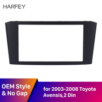 Harfey Double Din Car Radio Fascia for 2003 2008 Toyota Avensis DVD Stereo Player Face Plate Panel Installation Trim Black Frame