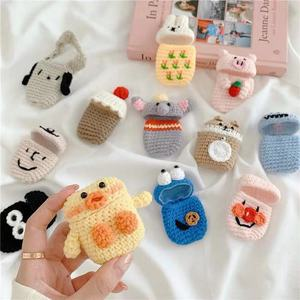 Winter Knit Rabbit elephant Key Ring Case Cover for Apple Airpods 1/2 Earphone Cases Bluetooth Headphone Bag Air Pods Lanyard(China)