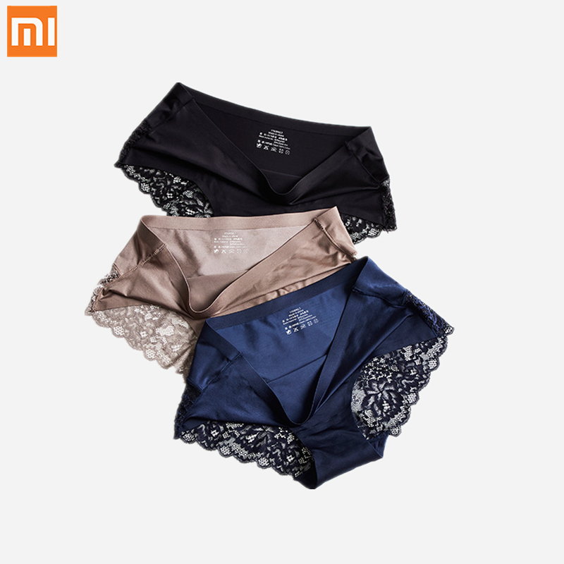 3pcs Xiaomi Sexy Women Lace Underwear Seamless Breathable Hollow Briefs Solid Color Woman Nylon Low Rise Lingerie Sexy Underpant