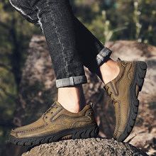 2020 Genuine Leather Men's Shoes Comfortable Outdoor Casual Shoes Men High Quality Cow Leather Male Loafers Soft Hiking Shoes 48