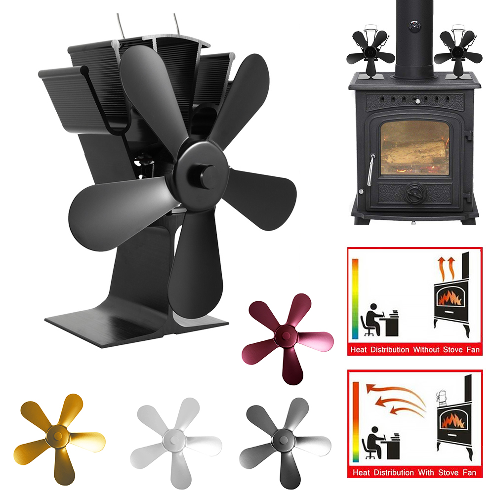 New 5-Blade Aluminum Alloy Heat Powered Stove Fan Winter Home Wood Log Burning  Fireplace Accessories