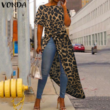 VONDA Women Asymmetrical Blouse Sexy Split Hem Leopard Party Tops Long Ladies Of