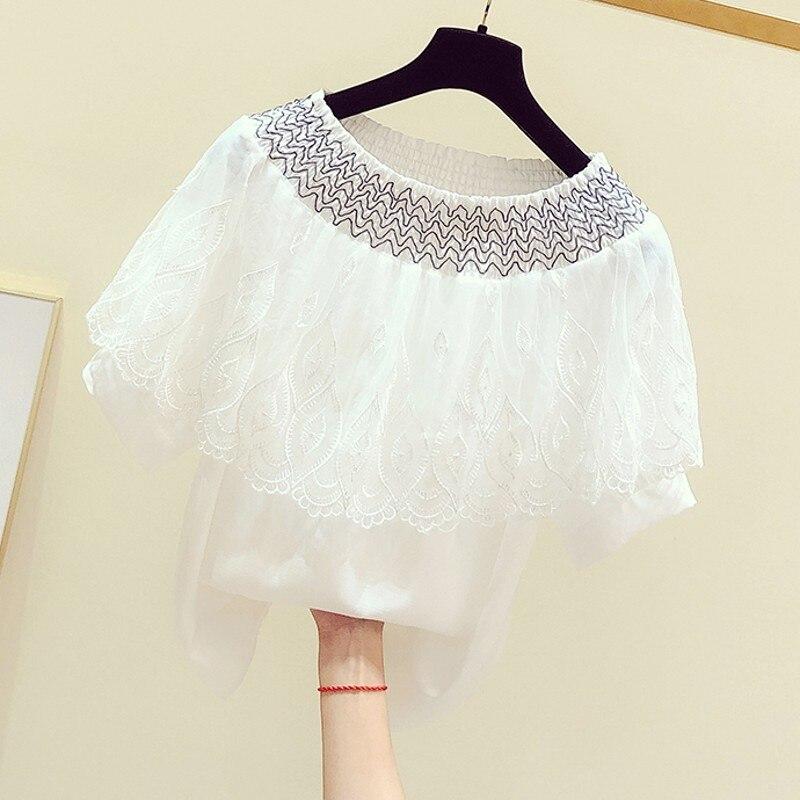 Blouse Woman 2020 Summer New Korean Temperament Lace Flounced Collar Short Sleeve Shirt Female Leisure Chiffon Blouses Blusas