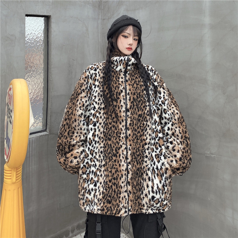 Cashmere Jacket Parka Women 2020 Autumn Winter Stand Collar Vintage Leopard Print Coats Harajuku Oversize Loose Zipper Jackets