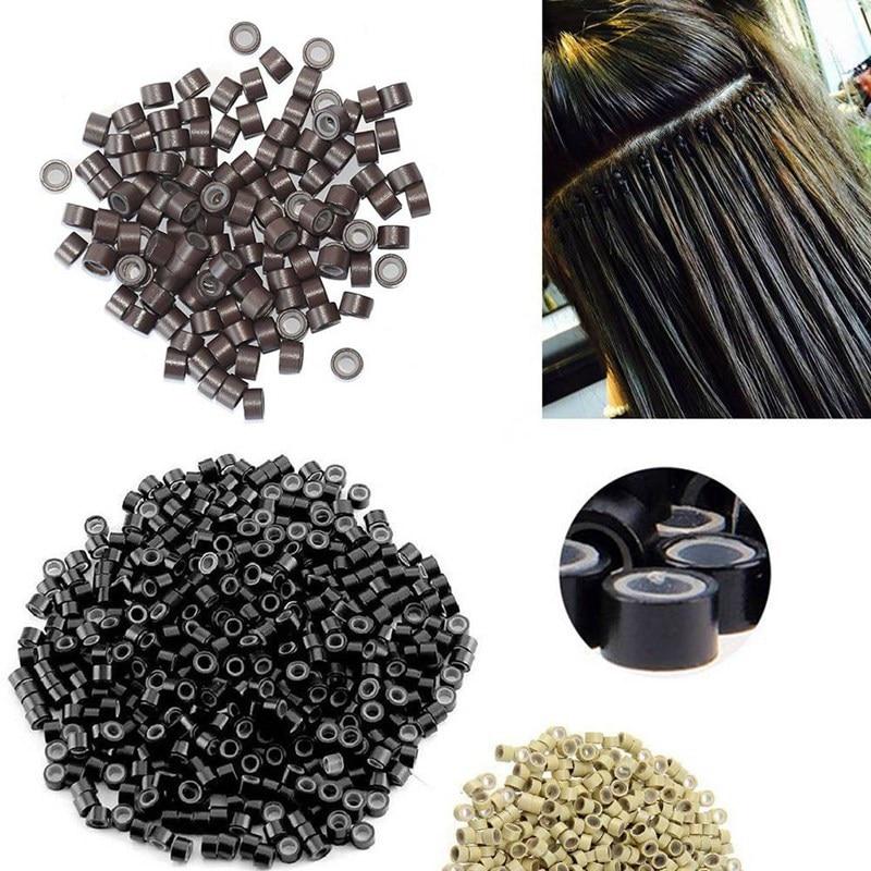 500 шт./банка 5,0*3,0*3,0 мм, бусины, Обжимные бусины для волос, микро силиконовые нано кольца для нано колец, инструменты для наращивания волос с по...