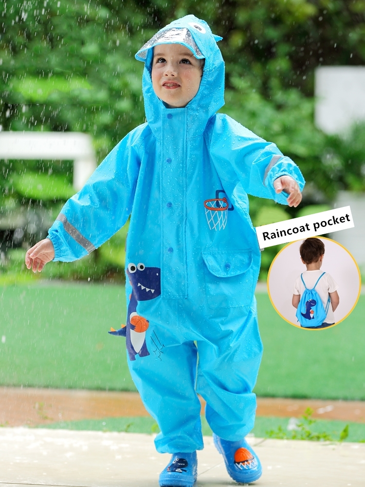 Waterproof Jumpsuit Pants Rainwear Dinosaur Girls Baby One-Piece Kids Hooded And Cartoon