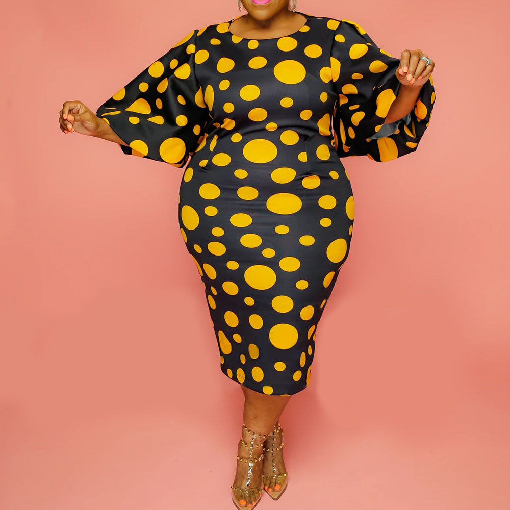vintage plus size dress for women 3XL 4XL 5XL retro yellow polka dot print falre sleeve bodycon midi party office african dress 3