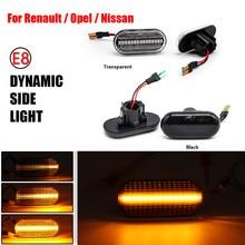 2Pcs For Renault Megane 1 Clio1 KANGOO ESPACE Smart For Nissan MOVANO Opel Dacia LED Dynamic Turn Signal Lamp Side Marker Light