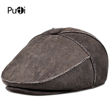 Pudi man winter warm real fur hat cap beret 2019 new real leather male one fur baseball caps hats HL909 цена