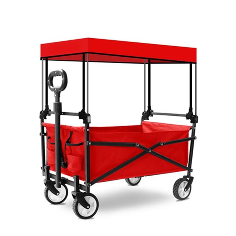 puxar haste carrinho de pesca portátil dobrável carrinho com telhado