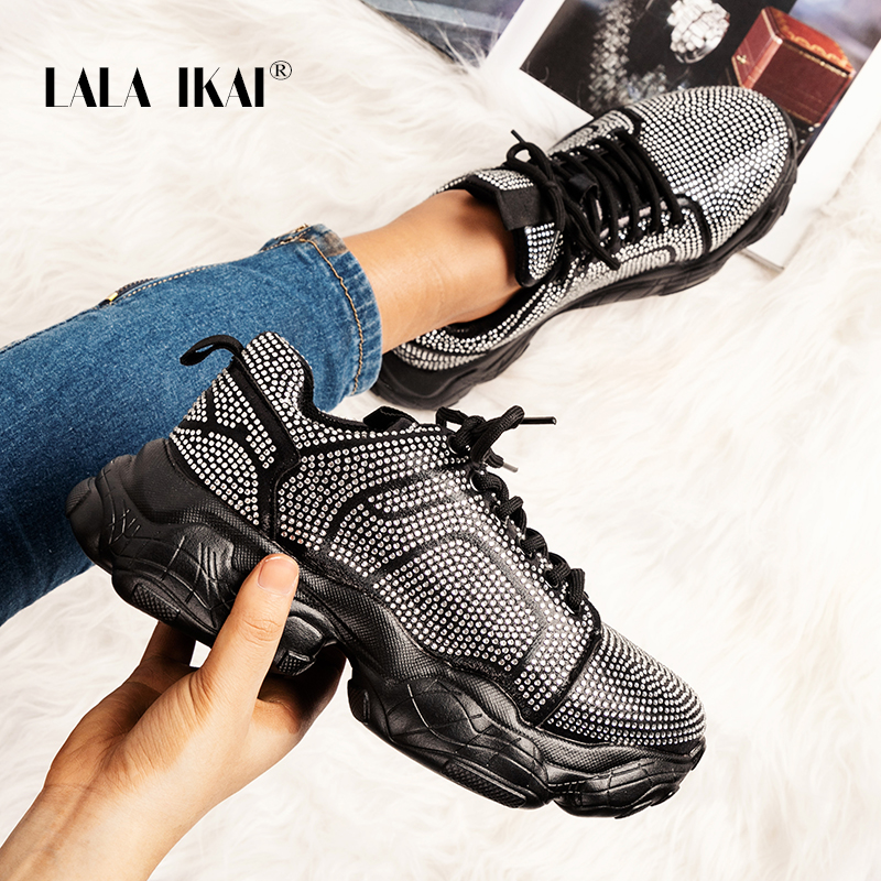 LALA IKAI Female Sneakers Black Breathable Mesh Shoes Woman Casual Lace-Up Vulcanize Sneakers Soft Platform Tennis Shoes A9239-4