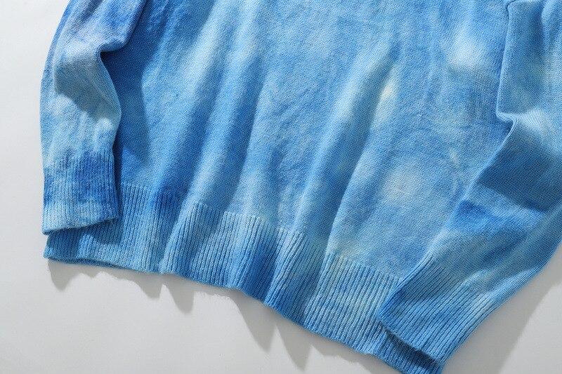 #1518 cravate teinture chandail hommes pull O cou Vintage automne hiver Hip Hop chandail à manches longues rétro Streetwear tricots homme hiver - 5