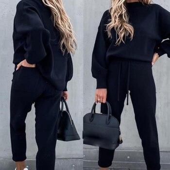 Tracksuits Women's Fleece Sweatshirt Sets Lantern Sleeve Pullover Drawstring Pants Set Clothing Women 2020 Autumn Sportswear 8