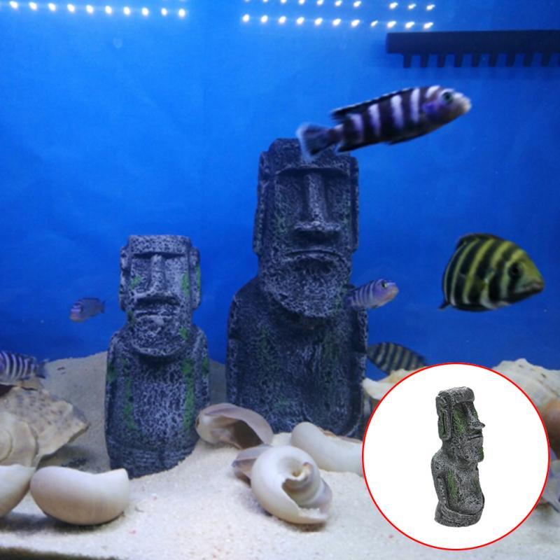 Easter Island Stone Statue Imitation Ancient Roman Portrait Accessories Resin Moai Monolith Statue Fish Tank Aquarium Decoration
