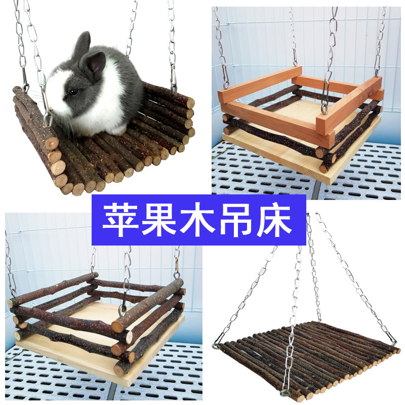 Rabbit Swing Totoro Squirrel Hammock Guinea Pig Pet Springboard Pedal Apple Wood Branch Molar Supplies Play