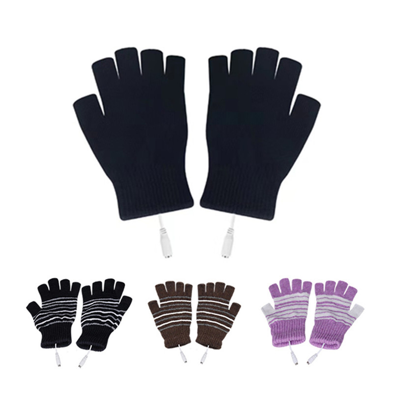 4 Colors Electric USB Heated Gloves Autumn Winter Knitting Thermal Hand Warmer For Outdoor Bike Indoor Office Ski Gloves New