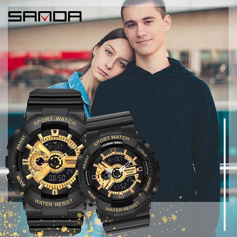 SANDA Sport Watch Men Women Fashion Alarm Clock 30M Waterproof Military Chrono Dual Display Wristwatches Relogio Masculino