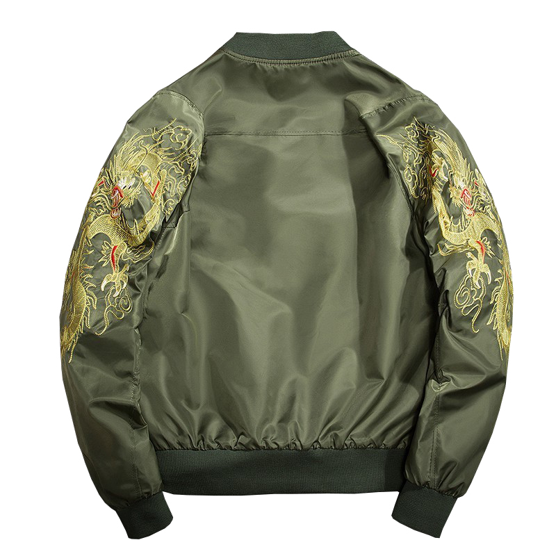 Army No Standard New Arrival Casual Embroidery Bomber Jacket Men Brand Spring And Autumn 2019 Embroidered Dragon Baseball Suit