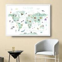 Pädagogisches Tier Welt Karte Bild Kinder Kindergarten Wand Kunst Leinwand Poster Große Größe Druck Baby Kinder Spielzimmer Dekoration