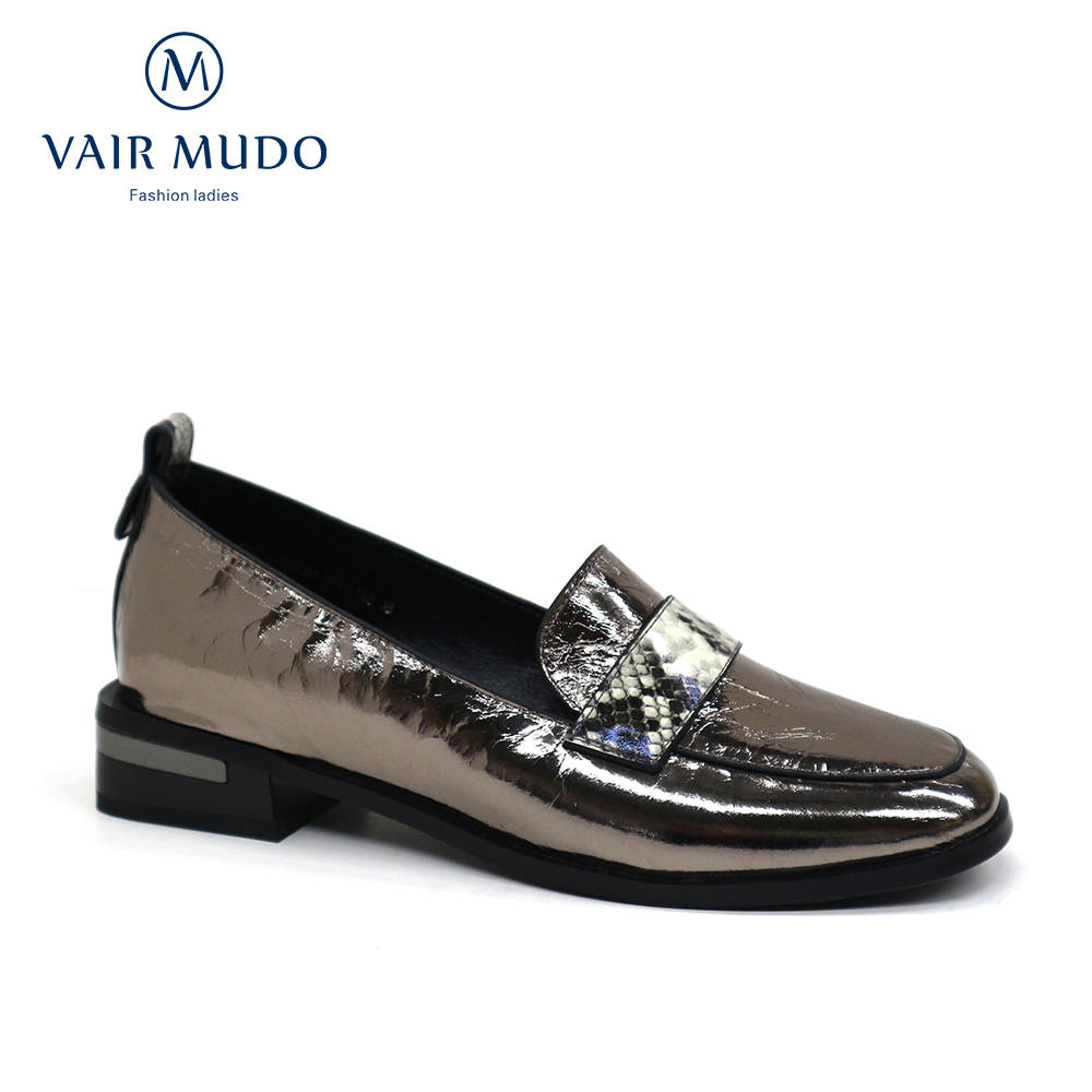 VAIR MUDO Women Pumps Shoes Black Spring Autumn Genuine Leather Shoes Women Single Footwear Round toe Slip on Shoe New Brand D60