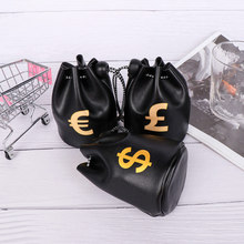 USD Dollar GBP Sterling EUR Euro Symbol Printed Black Small PU Key Pouch Wallet Drawstring Bag Coin Purse